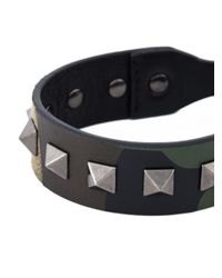 Valentino - Green 'Rockstud' Camouflage Bracelet for Men - Lyst