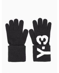 Y-3 Black Logo Knit Gloves for men