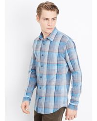 Vince Blue Melrose Space Dyed Plaid Button Up for men