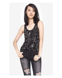Express Black And Silver Aztec Sequin Tank