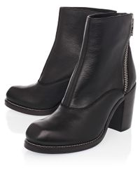 McQ Nazrul Black Curved Zip Ankle Boots