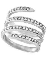 BCBGeneration - Metallic Silver-tone Crystal Pavé Wrap Ring - Lyst
