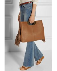 Christian Louboutin   Brown Passage Fringed Textured-leather Tote   Lyst