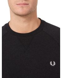 Fred Perry - Blue Plain Crew Neck Jumper for Men - Lyst