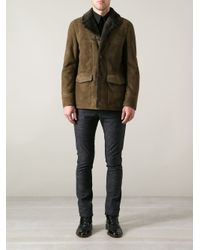 Saint Laurent Green Shearling Jacket for men
