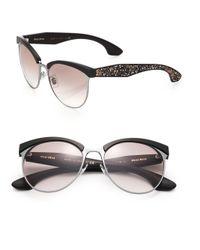Miu Miu - Black Oversized 56mm Round Sunglasses - Lyst