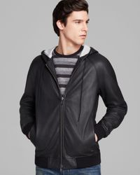 Marc By Marc Jacobs Black Leather Zip Hoodie Jacket for men