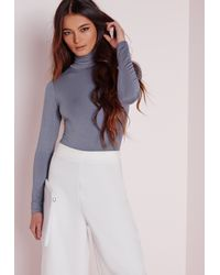 Missguided - Gray Long Sleeve Turtle Neck Bodysuit Blue - Lyst