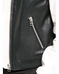 Mango - Black Leather Bomber Jacket - Lyst