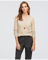 Ann Taylor | Natural Open Knit Sleeve Sweater | Lyst