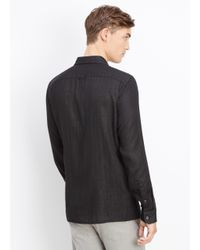 Vince | Black Melrose Cotton Double Layer Button Up With Square Hem for Men | Lyst