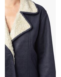 7 For All Mankind Oversized Faux Shearling Jacket In Fog Blue