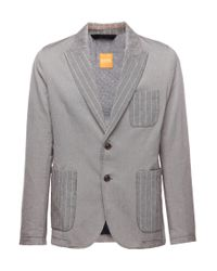 BOSS Orange | Gray Patterned Regular-fit Jacket In Cotton: 'beddie-w' for Men | Lyst