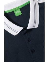BOSS Green Blue 'paule' | Slim Fit, Moisture Manager Cotton Blend Polo Shirt for men