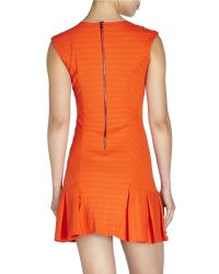LaPina by David Helwani | Natural Ribbed Drop Waist Dress | Lyst