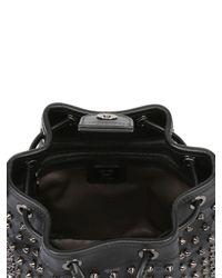MCM Black Studded Faux Leather Mini Bucket Bag
