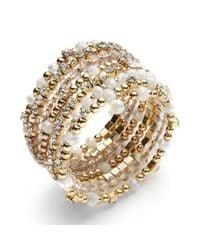 INC International Concepts - Metallic Gold-tone Black And Metal Bead Coil Bracelet - Lyst