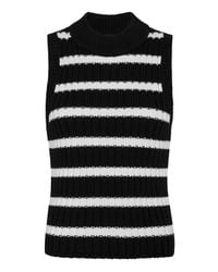 Exclusive For Intermix Black Shiloh Striped Mock Neck Sleeveless Knit