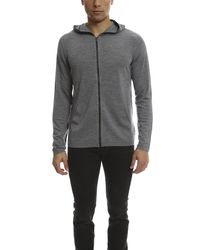 Vince - Gray Wool Silk Zip-up Hoodie With Leather Trim for Men - Lyst