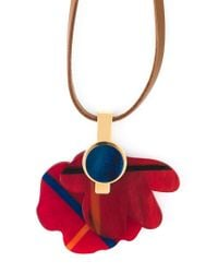 Marni Red Flower Pendant Necklace