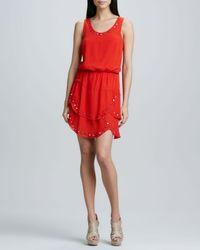 Nicole Miller Artelier | Orange Tiered Dress with Mirrored Accents | Lyst