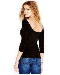 Guess Black Three-Quarter-Sleeve Boat-Neck Low-Back Top