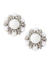 Jose & Maria Barrera - Metallic White Crystalcluster Button Clipon Earrings - Lyst