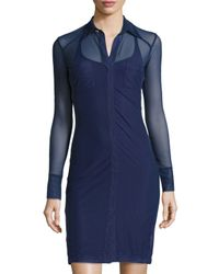 Anatomie - Blue Mona Long-sleeve Mesh Dress - Lyst