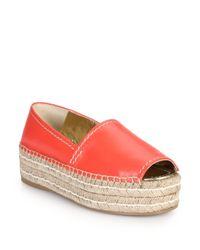Prada - Red Open-toe Leather Platform Espadrilles - Lyst