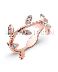 Anne Sisteron Pink 14kt Rose Gold Diamond Leaf Knuckle Ring