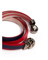 Alexander McQueen | Red Skull Double Wrap Colourblock Leather Bracelet | Lyst