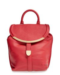 See By Chloé - Red 'lizzie' Pebbled Leather Backpack - Lyst