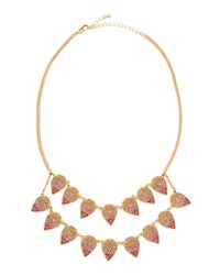 Fragments | Pink Ombre Pavé Crystal Leaf Necklace | Lyst