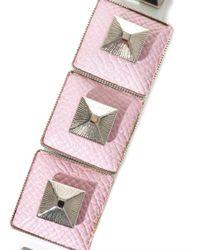 Toga Pulla Pink Square Pyramid Leather Bracelet