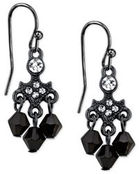 2028 | Black-tone Crystal And Black Drop Earrings | Lyst