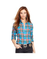 Polo Ralph Lauren | Blue Plaid Cotton Twill Shirt | Lyst