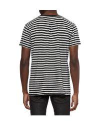 Saint Laurent White Striped Cotton and Woolblend Tshirt for men