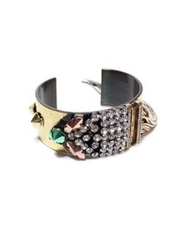 Iosselliani - Metallic Fringed Crystal Cuff - Lyst