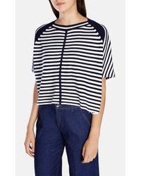Karen Millen   Blue Stripe Knit Jumper   Lyst