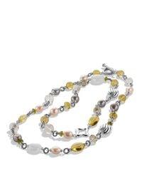 David Yurman Metallic Bead Necklace With Lemon Citrine And Pearls