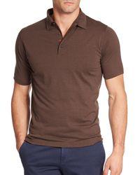 Isaia   Brown Cotton-silk Polo for Men   Lyst
