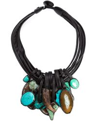 Monies Blue Stone And Horn Pendant Necklace