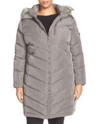 Calvin Klein | Gray Down & Feather Fill Coat With Faux Fur | Lyst
