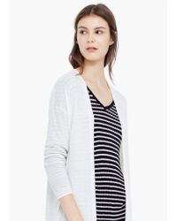 Mango - White Long Wool-blend Cardigan - Lyst