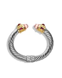 David Yurman | Renaissance Bracelet with Rose Quartz Pink Tourmaline and Gold | Lyst