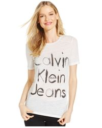Calvin Klein Jeans | White Graphic Scoop-neck T-shirt | Lyst