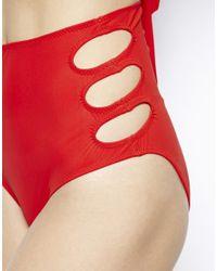 Mouille' Red High-waist Keyhole Bikini Bottoms