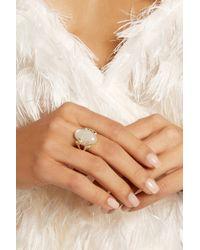 Noor Fares - Metallic Amoré 18-Karat Gold, Moonstone And Diamond Ring - Lyst