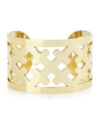 Katie Design Jewelry | Metallic Wide Gold-plated Cross Cuff | Lyst