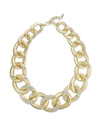 INC International Concepts - Metallic Gold-tone Pavé Flat Link Necklace - Lyst